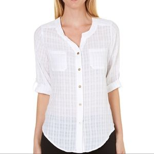 AGB White Button-Down Blouse